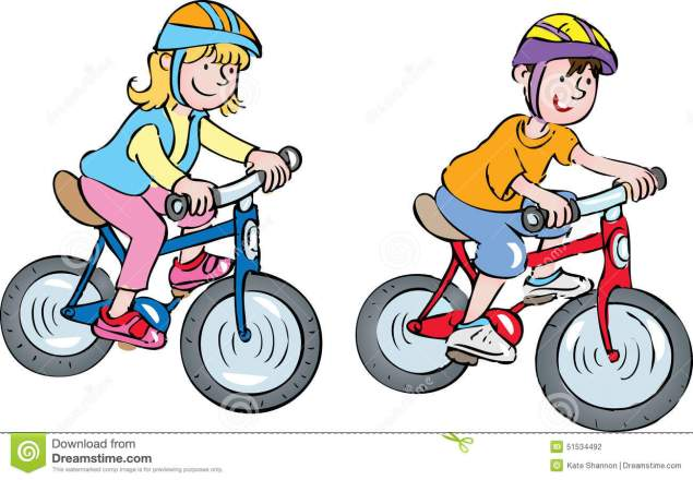 two-kids-bikes-cartoon-children-wearing-crash-helmets-riding-their-51534492