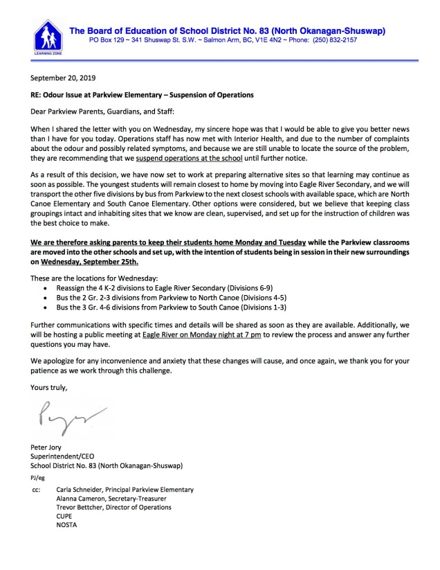 Letter to Parkview Parents - Suspension of Operations